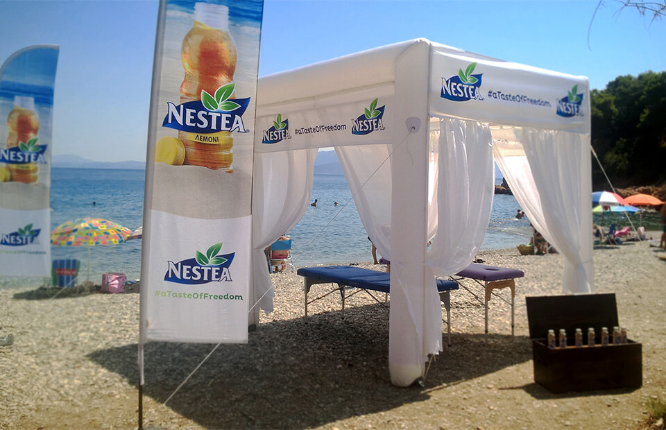 Cube shape inflatable event tent NESTEA by AXION4EVENT